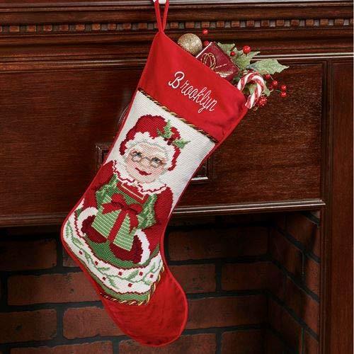 Peking Handicraft Heirloom Mrs Claus Needlepoint Christmas Stocking Red