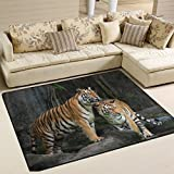 zebra slow cooker - Tiger Pattern Print Playmat Floor Mat For Dining Room Living Room Bedroom, 7'x5' and 5'3