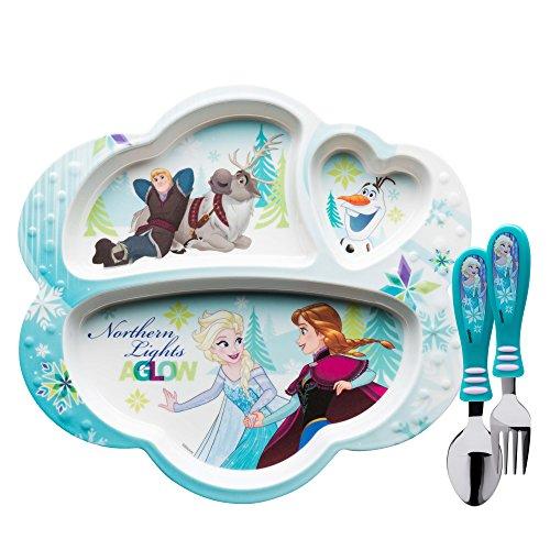 2 Piece Baby Set Fork - Zak Designs Frozen Divided Plate, Fork and Spoon Set, Disney Frozen, 2 piece set