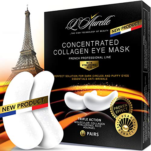 (Under Eye Mask Collagen Eye Mask Pearl Extract Under Eye Pads Anti-Aging Hyaluronic Acid Eye Patches Gel Eye Patch for Moisturizing & Reducing Dark Circles Puffiness Wrinkles Crow's Feet )