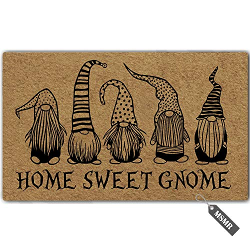 (MsMr Funny Door Mat Home Sweet Gnome Indoor Outdoor Doormat Custom Doormat Entrance Floor Mat Home Office Welcome Mat 30