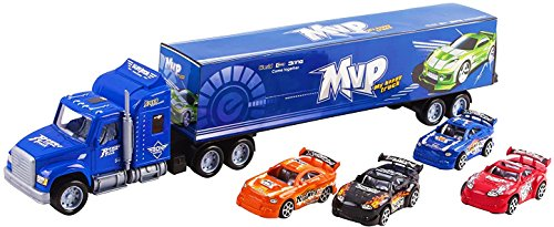 """Toy Truck Mega Big Rig Trailer Semi Truck 24"""" Children's Friction Toy Truck Container w/ 4 Toy Cars, No Batteries Required (Blue Truck)"""