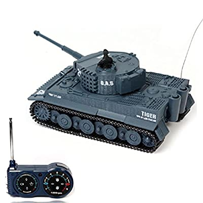 Lookatool® New Mini 1:72 49MHz R/C Radio Remote Control Tiger Tank 20M Kids Toy Gift (Grey)