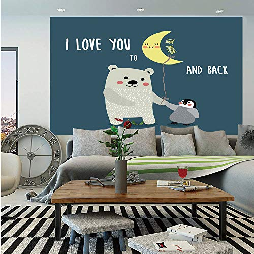 (SoSung I Love You Wall Mural,Teddy Bear and Penguin Best Friends Arctic Lovers Under Moon Cartoon Decorative,Self-Adhesive Large Wallpaper for Home Decor 55x78 inches,Slate Blue Grey Yellow)