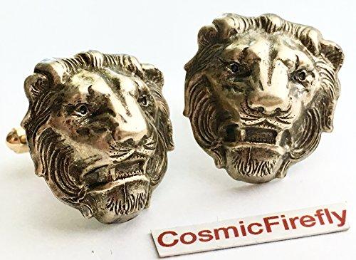 3D Brass Lion Cufflinks Handcrafted Steampunk Antiqued Brass