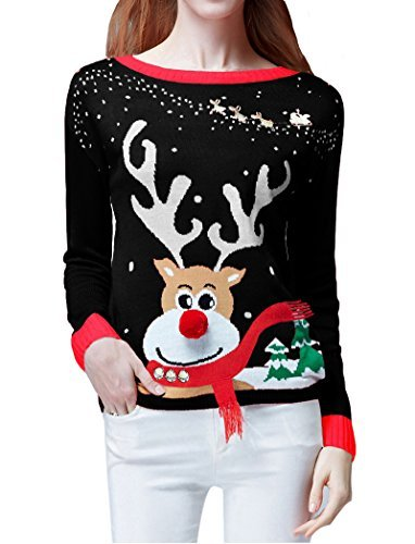 v28 Women's Ugly Christmas Sweater, Ladies Girls Cute Reindeer 3D Nose Sweater (XL, Black Color) for $<!--$19.99-->