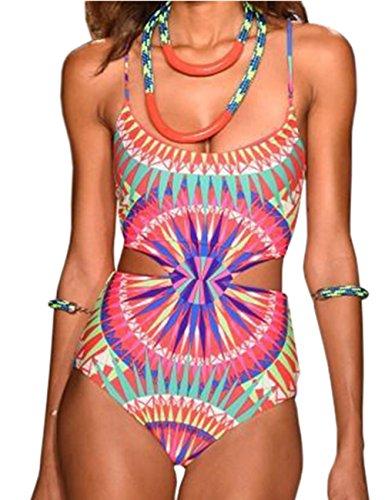 Ninimour Womens Halter Bandage Cut Rompers Swimsuit Swimwear Monokini (S, Pink) (Pink Monokini)