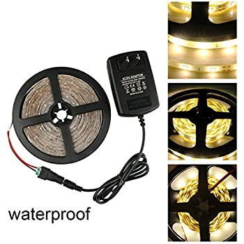 GALYGG DC12V Warm White SMD 2835 Waterproof LED Strip Lights With 2A Power  Adapter,16.4