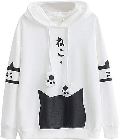 Daylin Mujer Casual Manga Larga Gato Impresión Sudaderas con Capucha Tops Camisa, Blanco Negro (S, Blanco): Amazon.es: Ropa y accesorios