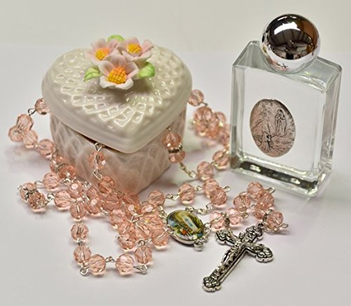 DIRECT FROM LOURDES Swarovski Rosary Beads with a Porcelain Heart Rosary Box - Lourdes Gift Set - Porcelain Rosary Box