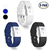 (US) Hotodeal Replacement Bands for Fitbit Charge 2, Classic Fitness Silicone Wrist Band Accessory, Colorful Band Design with Adjustable Metal Clasp for 2016 Fitbit Charge 2 HR (Black+White+Blue)