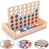 Wooden 4 in a Row Game - 4 Connect Family Fun with Coins- Smart Line Up 4 for Kids, Yard Games, Travel