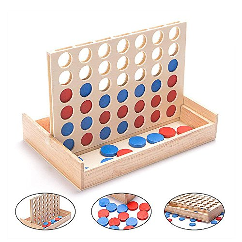 Wooden 4 in a Row Game - 4 Connect Family Fun with Coins- Smart Line Up 4 for Kids, Yard Games, Travel by JEVERGN