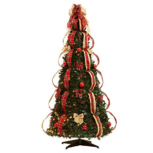 Wreath Christmas Tree Ornament - BrylaneHome Flat-to-Fabulous Fully Decorated, Pre-Lit 6-Ft. Christmas Tree