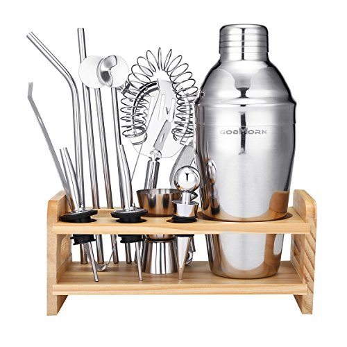 13 Piece Cocktail Shaker Home Bar Set - Godmorn Bartender Kit - 18 oz Stainless Steel Bar Tools Kit with Wooden Stand, Double Jigger, Bottle Opener, Ice Tong and 2 Pourers, Cocktail Recipes Booklet