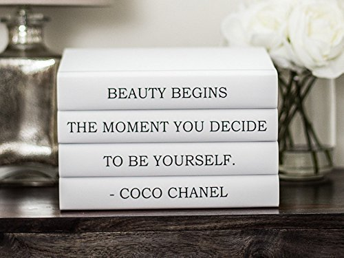 (Coco Chanel Quote Decorative Book Set, Chanel Quote Beauty Begins the Moment You Decide to Be Yourself, Decorative books, Fashion Decor, Coffee Table )