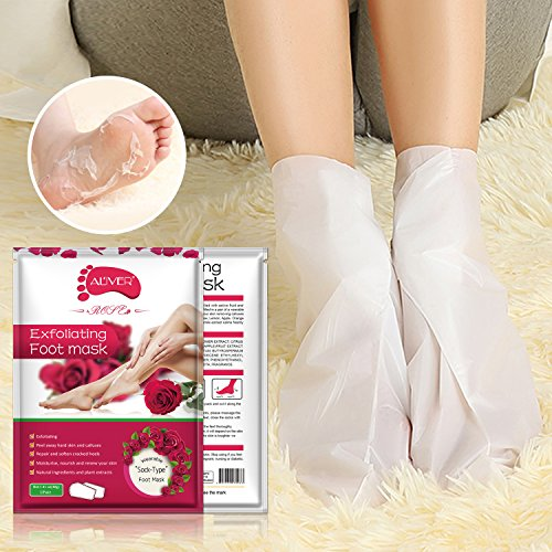 Foot Peel Mask - (5 Pack) Peeling Away Calluses and Dead Skin Cells - Exfoliating Foot Mask, Baby Soft Smooth Touch Feet-Men Women (rose)