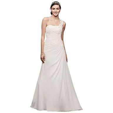 One Shoulder Wedding Dress Floral Appliques Style V3398 at Amazon ...