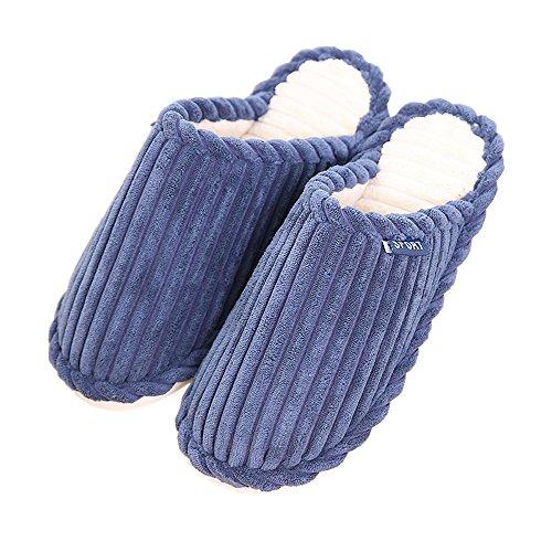 Peluche Avec Rojeam Pantoufles Intérieur Rayures De En Pantoufles Antidérapantes Femmes D'hiver Marine Couleur Pantoufles À Tricotées Maison ECqTC