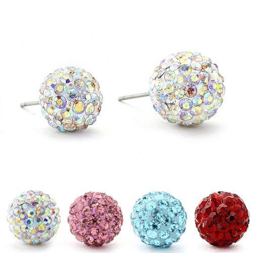 Authentic Diamond Color Crystal Ball Stud Earrings. Aurora Borealis 6mm. (Ball Authentic)