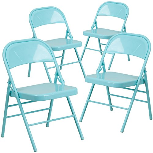 Metal Chair Folding (Flash Furniture 4 Pk. HERCULES COLORBURST Series Tantalizing Teal Triple Braced & Double Hinged Metal Folding Chair)