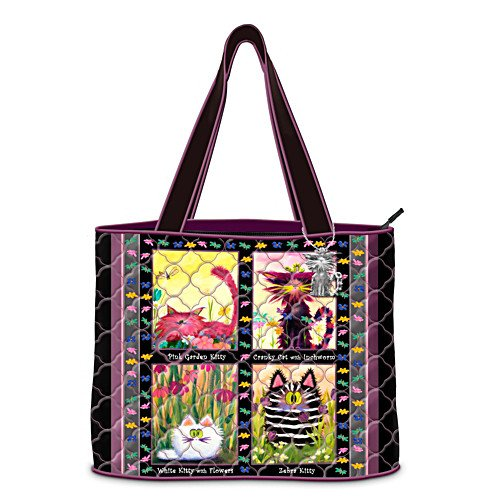 Cranky Cats Quilted Tote Bag by The Bradford Exchange