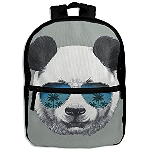Kids Shoulder Backpack Panda With Sunglasses Adjustable 3D Printed School Bag For Boy Girl