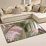 Rie Boing West-elm-Tropical-Leaves Large Door mats Area Rug Runner Floor Mat Carpet for Entrance Way Living Room Bedroom Kitchen Office Holiday Doormat Non-Slip Carpet