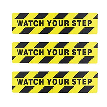 "Kasteco 3 Pack""Watch Your Step"" Printed Anti Slip Tape, 6"" x 24"""