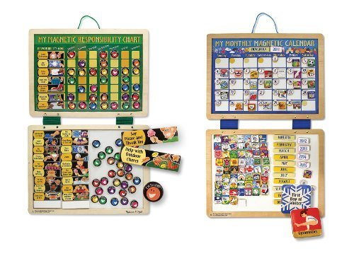 3 Item Bundle: Melissa & Doug 3789 My Magnetic Responsibility Chart, 3788 My Monthly Magnetic Calendar + Coloring Activity Book - Responsibility Chart Magnetic Doug