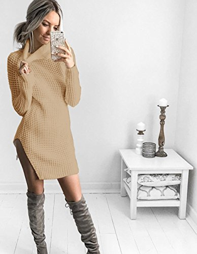 Chandails Femme Col Dress Tops Manches Montant Pure Sexy en Maille Longues Jumper Sweater Minetom Mini Maille Couleur Kaki Pull Tricots Robe wqEHdYxZ