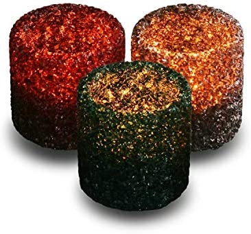 3 Pack Tealight Candle Holders Decorative Colorful Glass Cullet Tea Lights Votive Holder