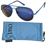 Classic Aviator Style Sunglasses Metal Frame Colored Lens UV Protection OWL (Blue-Frame-Mirror-Spring, Colored)