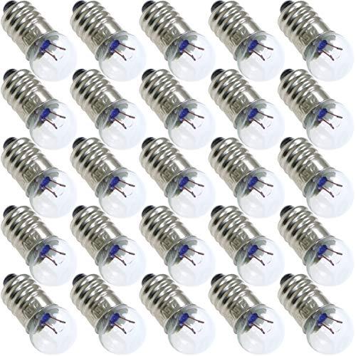 (ToToT 25pcs E10 Mini Light Bulbs 2.5V 0.3A Physical Electrical Experiment Screw Base Indicator Light Incandescent Bulb Old-Fashioned Flashlight Lamp)