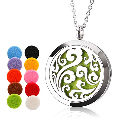 ttstar Essential Oil Diffuser Necklace Aromatherapy Jewelry Wave Stainless Steel Locket Pendant with 24 Inches Adjustable Stainless Steel Chain, 10 Washable Refill Pads