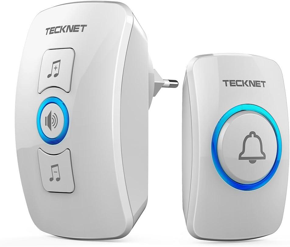 TECKNET Timbre inalámbrico,Timbre de Puerta con Indicadores LED, Resistente al Agua, 32 Melodías, Alcance a 250m, 4 Niveles de Volumen (1 Receptor y 1 Transmisor)