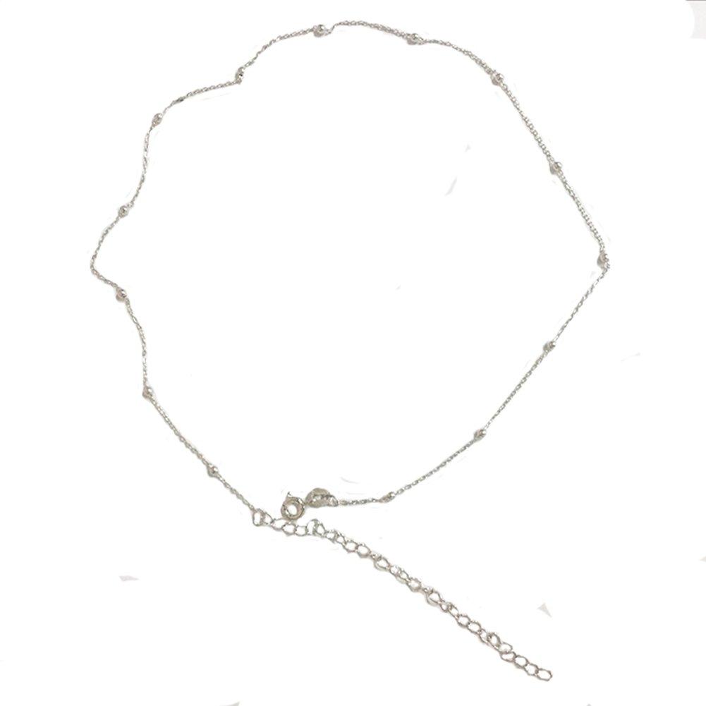 Amkaka Minimalist Sterling Silver Choker Necklace Thin Bead Ball Necklace (Silver)