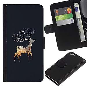 EJOY---La carpeta del tirón la caja de cuero de alta calidad de la PU Caso protector / Apple Iphone 6 / --Gris Laponia Naturaleza Alaska Otoño