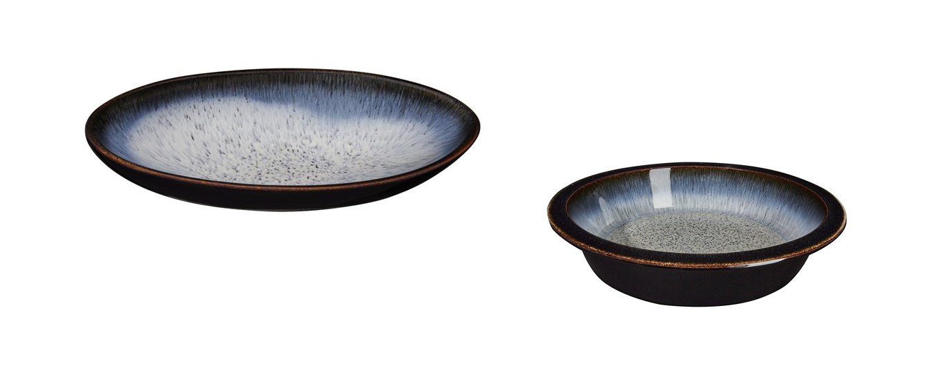 Denby Halo Medium Oval Serving Dish and Round Pie Dish, Set of 2