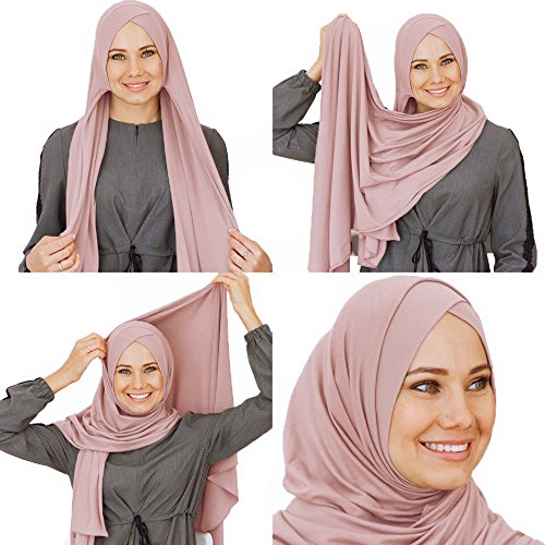 Cotton head scarf, instant hijab, ready to wear muslim accessories for women (Powder)
