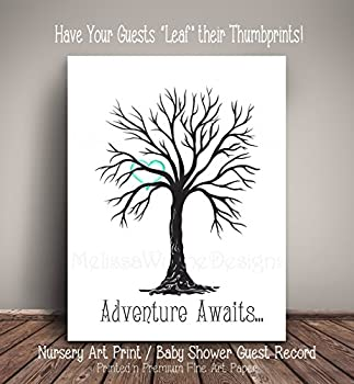 """Baby Shower Guest Record Thumbprint Tree - Nursery Art Print/Home Décor Print - Alternative to Guest Book- Guests """"Leaf"""" their thumbprints TTBK<301"""