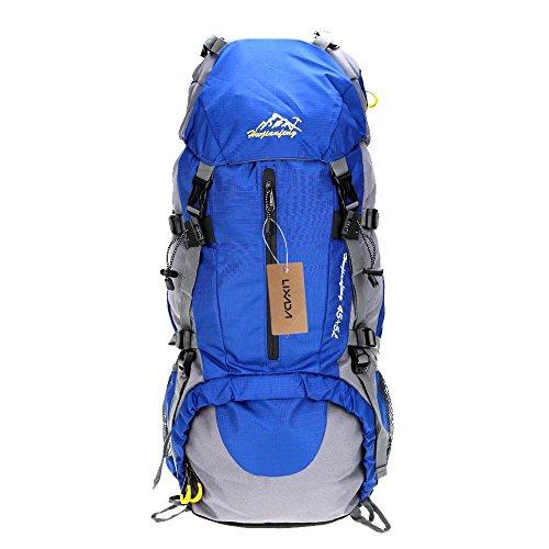 Lixada Trekkingrucksack Wanderrucksack Reiserucksack 45L+5L Wasserabweisend mit Regen Abdeckung Hellblau HJjla0