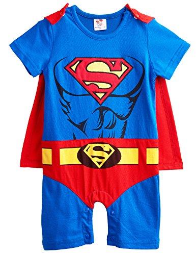 [A&J Design Baby Boys' Superman Short Sleeve Romper Costume (3-6 Months)] (Superboy Costume Cosplay)