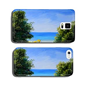 oil painting landscape - field near the sea, wild flowers cell phone cover case iPhone5