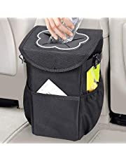 MOSFiATA Car Trash Can, Foldable and Waterproof Auto Garbage Bag 10L Oxford with Lid and Side Pockets,Car Accessories Organizer for Car/SUV/Truck/Minivan/Auto