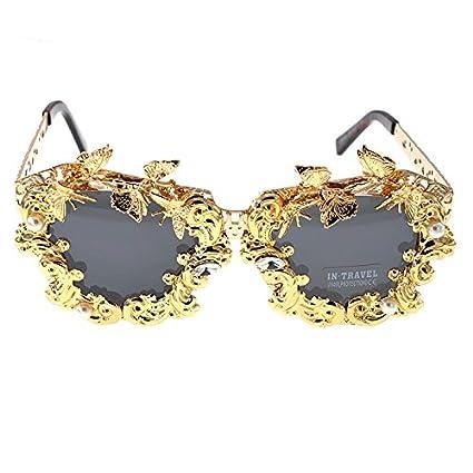Peggy Gu De Lujo Hechos a Mano de Metal Flor y Mariposa polarizada Gafas de Sol