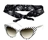50s Polka Dot Cat Eye White Sunglasses Black Bandana Tie Headband Set