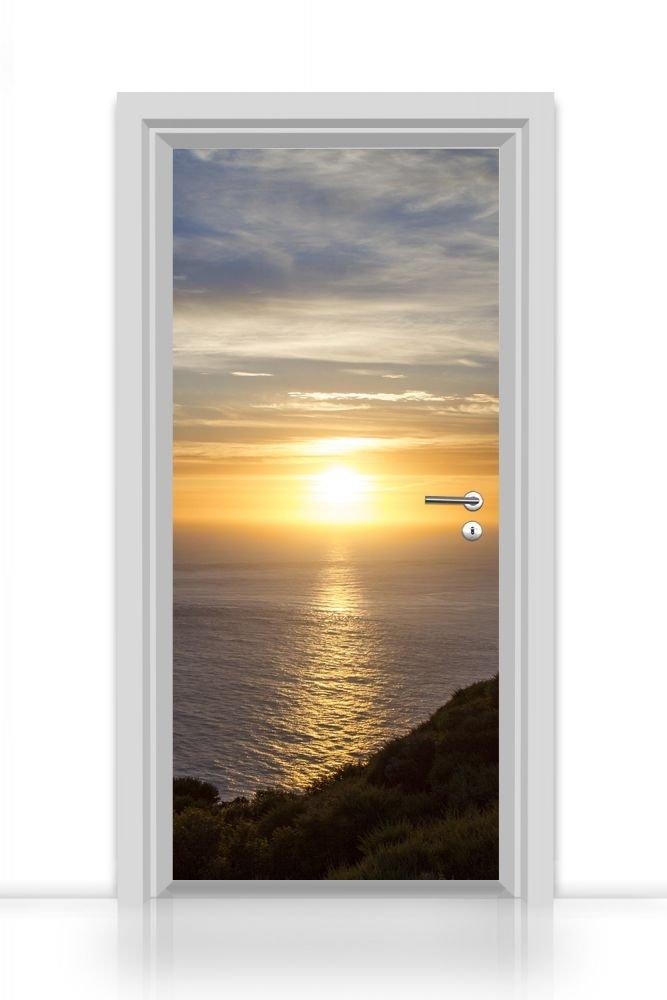 Türtapete selbstklebend einteilig (Sonnenuntergang am Meer) Aufkleber Sticker 93x205cm