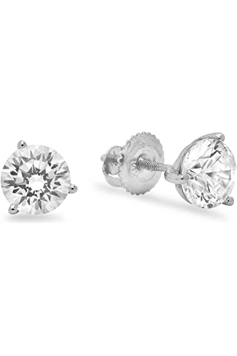 1.50CT ROUND CUT Simulated Diamond CZ Pave SOLITAIRE HALO STUD EARRINGS 14K White GOLD Screw Back