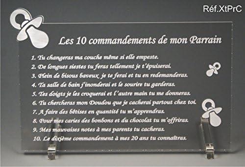 Les 10 commandements de MARRAINE Cadeau Bapt/ême /& Communion Tototte texte Comique